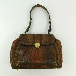 Brahmin Croc Embossed Leather Satchel Shoulder Bag
